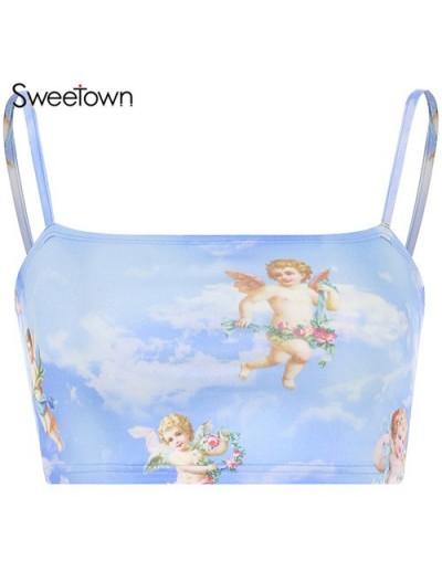 Angel Print Cute Bralette Crop Top Summer 2019 Blue Kawaii Women Clothes Spaghetti Strap Slim Sexy Cami Top New Arrival - bl...