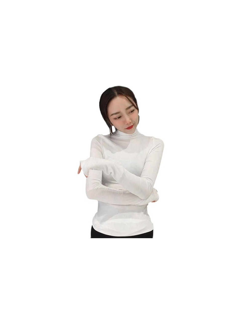 Women Long Sleeve Slim Fit T-shirt Solid Color High Neck Bottoming Tops Pullover Basic Daily Clothing Fashion Casual Turtlen...