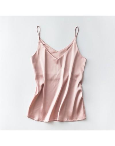 Spaghetti Strap Top Women Halter V Neck Basic White Cami Sleeveless Satin Silk Tank Tops Women'S Summer Camisole Plus Size -...