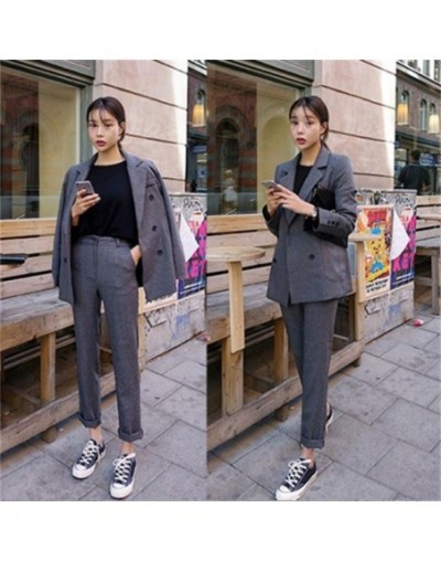 2019 spring new fashion casual small suit jacket female temperament trousers two-piece OL professional suit Slim Wild - Dark...