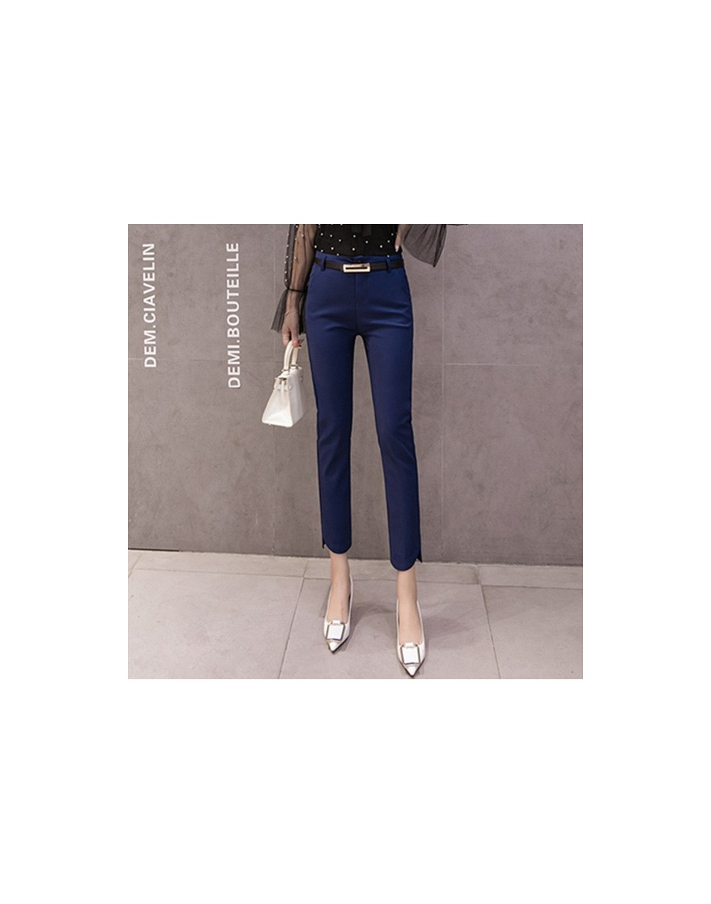 Black white blue women casual pants 2019 new autumn ladies pencil nine pants trousers office lady female feet pants - 5405Na...