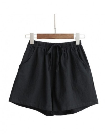 Hot Women High Waist Loose Solid Color Shorts Casual for Summer Sport Running Beach A66 - Black - 5R111182374776-2