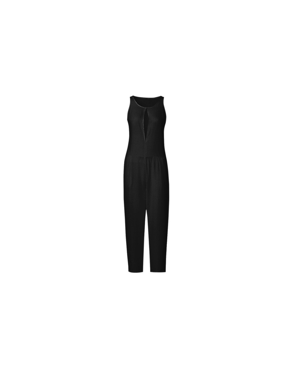 2019 Summer Female Puls Size Elegant Loose Jumpsuit Trousers Women Casual Long Pants Overalls in White Black - Black - 4Z415...