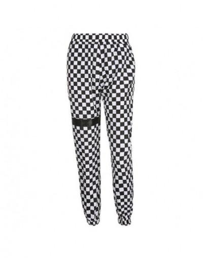 Autumn 2019 Plus Size Harajuku Sweatpants Checkerboard Track Pants Trousers Women Patchwork Pantalon Femme Streetwear - Blac...