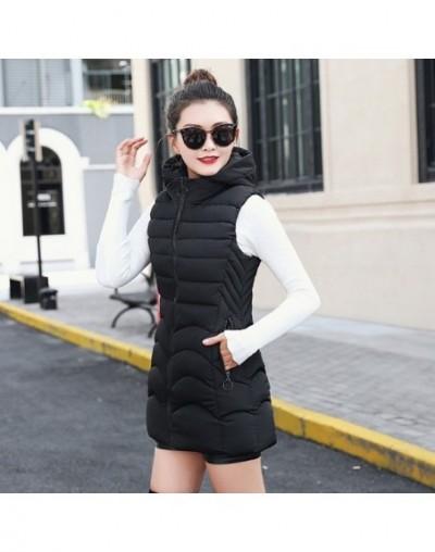Winter vest women mid-long slim solid long zipper hooded waistcoat vest Autumn sleeveless cotton padded parka coat - Black -...