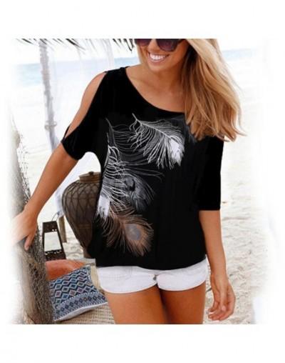 Women Casual Summer T Shirt 2019 Short Batwing Sleeve Loose Tops Cold Shoulder Feather Print Tee shirt Plus Size T-Shirt 5XL...