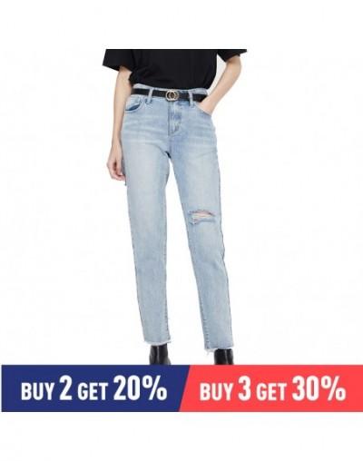 Women 2019 Summer Jean Fashion Print Embroidery Hole Slim Striaght Pant Female High Waist Vintage Jeans - blue - 463002434459