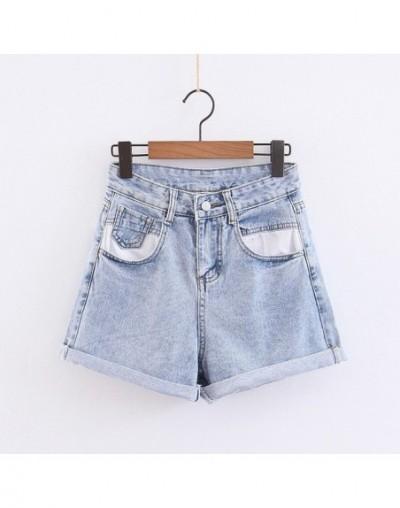 2 color Hight Street High Waist Roll Up Cuffs Short Denim Shorts Contrast Color Pockets Denim Pants Summer Short Jeans Women...