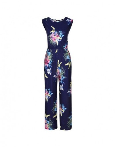 Fasihon Women Loose Jumpsuit Sleeveless O Neck Floral Print Rompers Overalls High Waist Summer Fall Casual Long Jumpsuit - N...