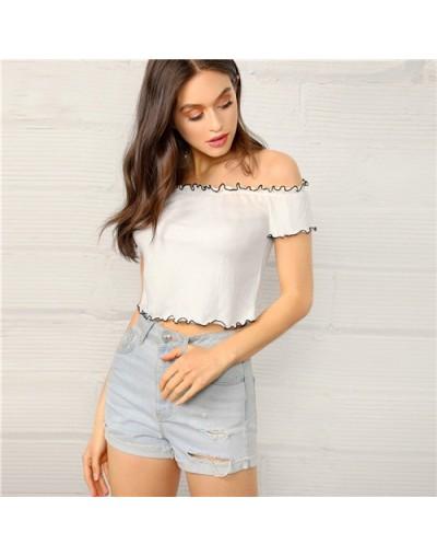 Boho White Lettuce Trim Off Shoulder Crop Top Fitted T Shirt Women Summer Short Sleeve Contrast Binding Strapless Tshirts - ...