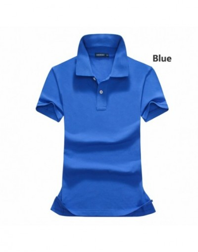 High quality 2019 Summer womens short sleeve polos shirts casual solid color cotton lapel tees fashion slim lady tops - Rose...