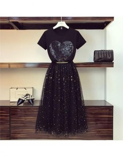 2019 Summer New Women Sequins Heart T-Shirts+ Elastic High Waist Long Mesh Skirts 2PCS Clothes Suits Sets - Black - 40300004...