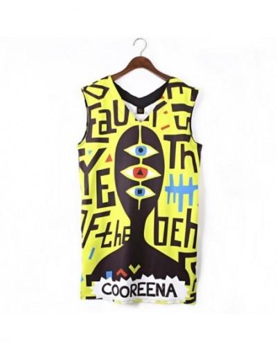 2018 New Summer Street Hip Hop Dress Women Graffiti Print V-neck Sleeveless Dress Sundress Women's Loose Dresses Vestidos Fe...