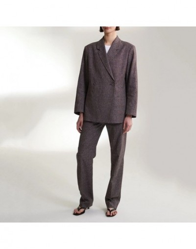 Women Coat 2019 Autumn and Winter Cotton Blend Wild Double-breasted Casual Suit - Gray - 5V111257111658-2