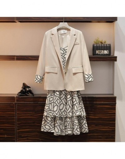 Fat Sister's Autumn Dress New Large Size Women's Suit Jacket Suspended Dress Two Sets - Beige - 5D111216569804-1