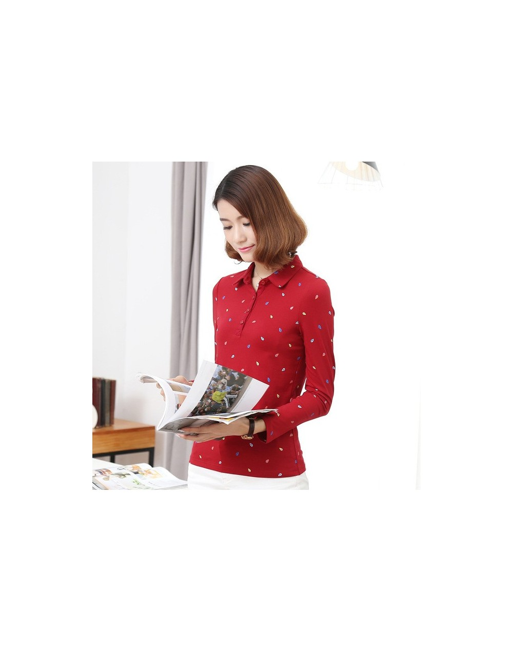 M - 4XL Plus size autumn Winter cotton polo women colorful leaf printed women polo shirt casual polo femme red black color -...