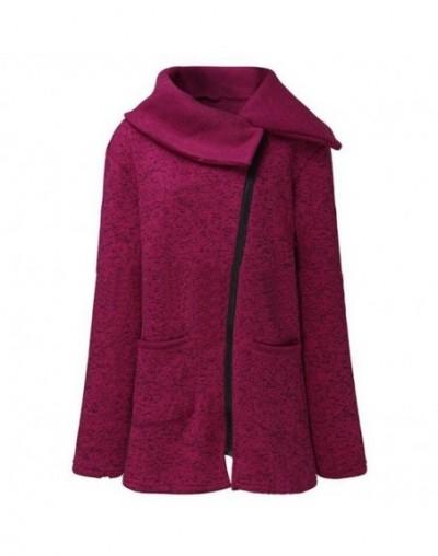 S-5XL 2018 Autumn Winter Women Sweaters Cardigan Fleece Turn-down Collar Oblique Zip up Knitted Coat Sweater Outwear Plus Si...