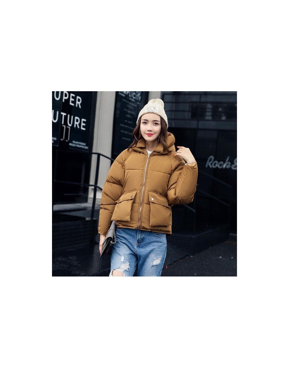 Winter Women Padded Coats Short Cute Cotton Down Parkas Camouflage Wadded Jacket Loose Casual Warm Overcoats - coffee - 4E39...