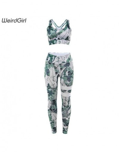 women sportswear fitness 2 pieces set stracksuit print casual sleeveless gym clothing slim thin elastic stretched new - Gree...