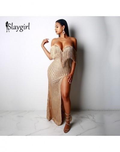 Slaygirl Strapless Tassel Dress Autumn Elegant Club Party Dress Sexy Off Shoulder Tassel Stripe Sequin Fringe Maxi Dress - ...