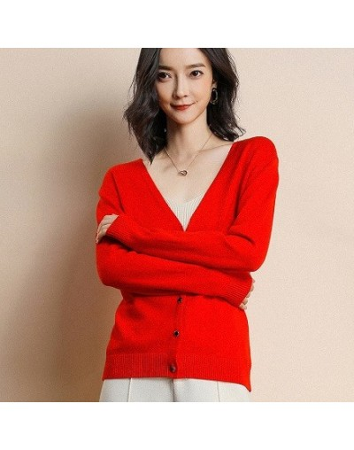2018 Spring New Listing High Quality wool Cardigan sweater Women V-Neck Design Genuine Goods - red - 4W3795474547-6