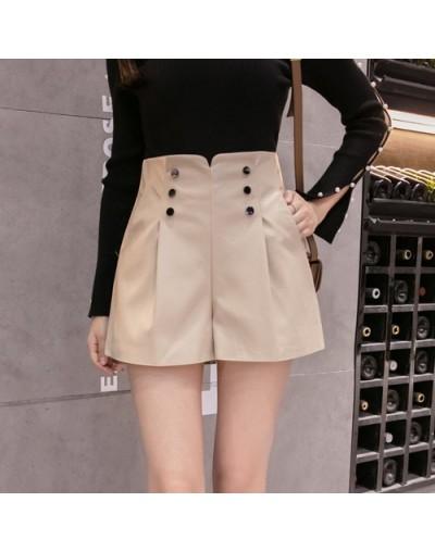 2019 autumn winter women's leather shorts women high waist korean style plus size PU panties female shorts for girls - Apric...