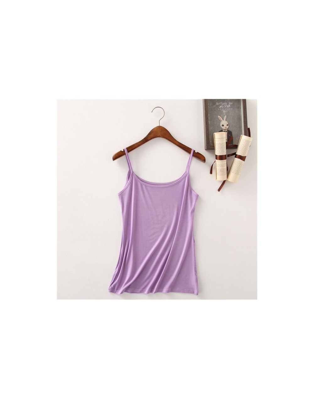 2018 modal Camis Top Summer Style Women Tops Sexy Camisoles For Ladies Black Strap camis BTL119 - light purple - 4T3800144932-5