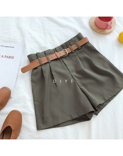 Korean Brief Design White Suit Shorts For Women 2019 Fashion Solid High Waist Wide Leg Shorts With Belt - Army Green - 4M307...