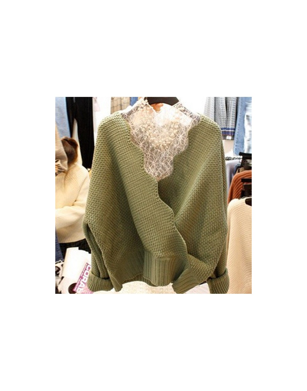 2019 Autumn Knitted Women Sweater&Lace Tops Two Pieces Solid V-neck Sueter Mujer Loose Fashion New Pullovers 68397 - green -...