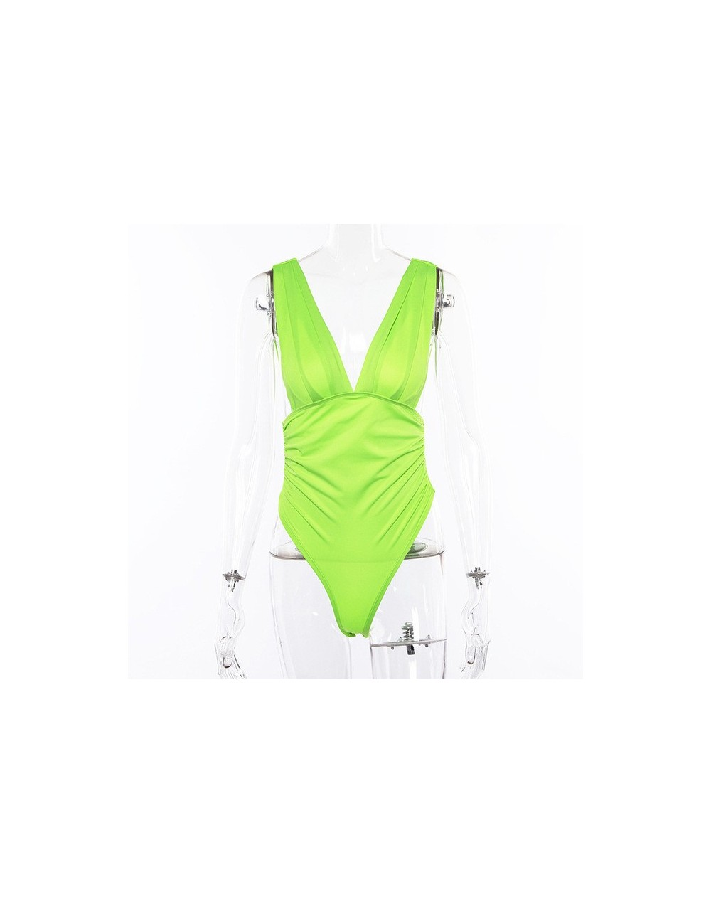V-neck backless sexy neon bodysuit solid 2019 winter spring Christmas party women fashion casual sleeveless body - Green - 4...