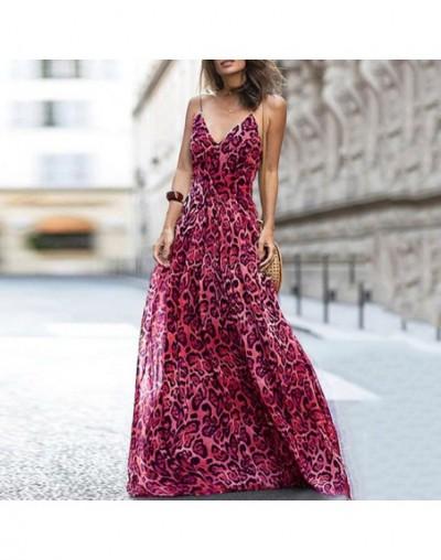 Women Leopard Print Long Dress V Neck Spaghetti Shoulder Straps Summer Beach Dresses 2019 Sleeveless Casual Maxi Dress Vesti...
