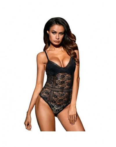 Floral Lace Bustier Bodysuits Woman Sheer Bodice with Sponge Cups Hollow Out Female Body Top Clothes for Ladies Bodysuit - B...