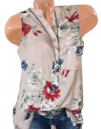 5XL Plus Size Blusas Women Blouses Summer Tops New Leisure Blouse Floral Print V Neck Sleeveless Shirts Top Mujer Ladies Top...