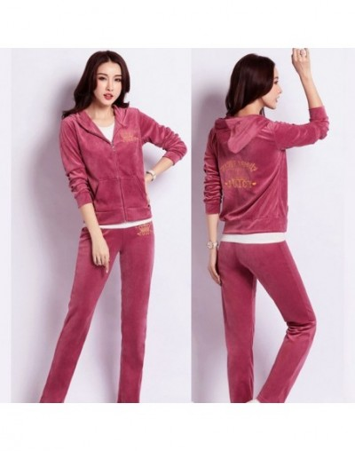 winter autumn sporting Suits Women female Velvet Tracksuits crown Embroidered Hooded Jacket Pants 2 Piece Set Sportswear fem...