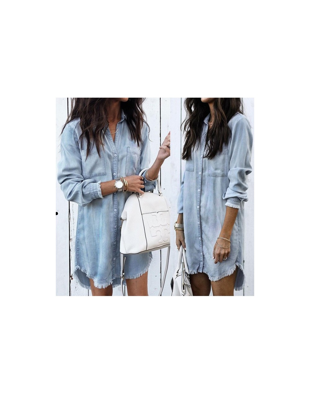 2018 Autumn Women Causal Blouse Tops 3 Style Long Sleeve Single Breasted Solid Denim Long Length Blouse Tops - Blue - 474112...