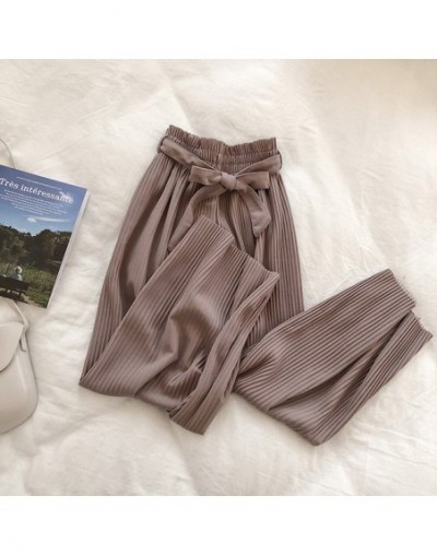Summer Chic Style Regular Ankle Length Wide Leg Pants Solid Pleated Trousers Spring High Waist Striped Drawstring Pant - Pur...