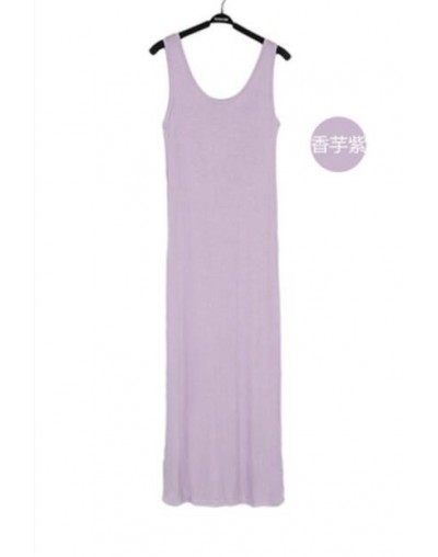 16 Colors Women Summer Dress Tank Ankle Length Long Maxi Dress Ladies Sleeveless Celebrity Party Casual Dresses - Purple - 4...