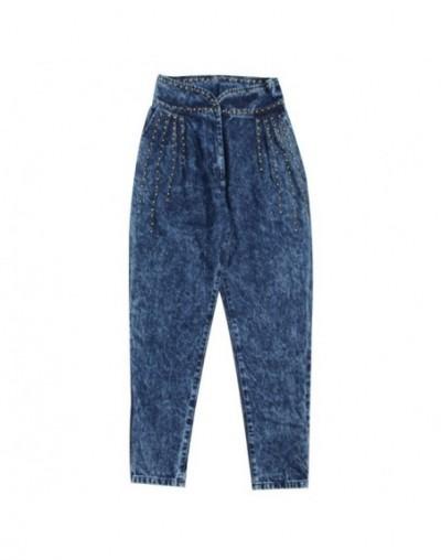 2019 Autumn Fashion Streetwear Denim Trousers Women High Waist Patchwork Heavy Rivets Long Jeans - Blue - 5F111170230209