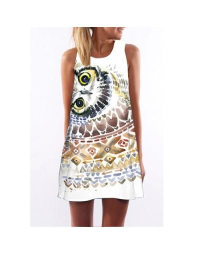 Women Dress New Style Digital Printing Short Retro Vintage Dress Sleeveless Round neck Casual Chiffon Summer Dresses - Dark ...