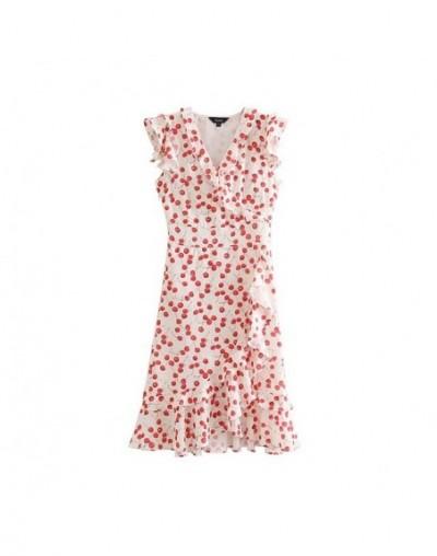 women sweet cherry print midi dress ruffled V neck sleeveless irregular female summer A line dresses QC353 - as picture - 4C...