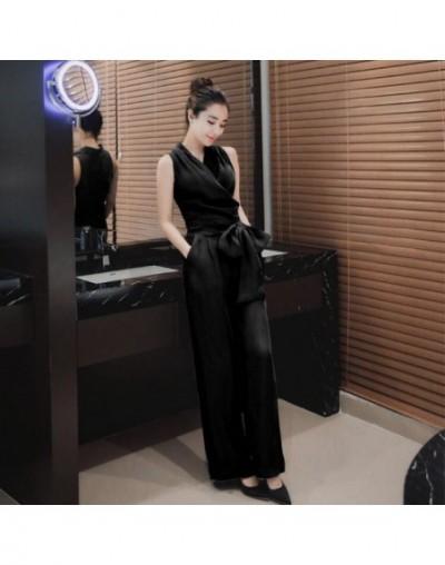 2019 New Fashion Summer Elegant Office Lady Women Bandage Casual Jumpsuit Solid Romper Jumpsuit - Black - 4D3090411448-1
