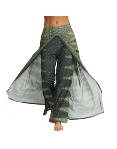 Women Casual Pants Thailand Indonesian Digital Print Pants Novelty Personality Loose Wide Leg Pants Bohemian Pants - Green -...