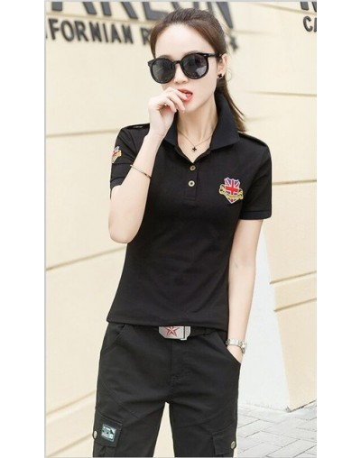 New women polo shirt 2019 summer short sleeve Embroidery Casual Female Slim Top M02 - Black - 414140552376-3