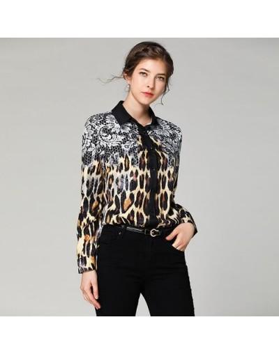 2019 Women Blouses Fashion Runway Designers Long Sleeve Turn Down Collar Printed Blouses Shirt Casual Office Shirts Tops leo...