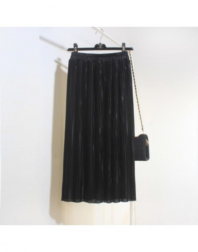 2017 spring new metal shiny skirt in the long section of solid color high waist was thin pleated skirt - Black - 4T3772634319-2