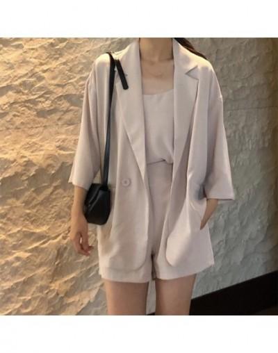 Blazers Women Simple Elegant Korean Style Chic Loose Female Single Button Pockets Womens Leisure Three Quarter Trendy Outdoo...