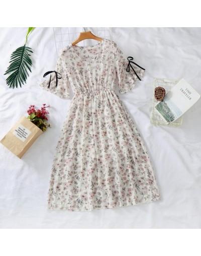 Women chiffon dress 2019 spring summer fashion female elegant vintage prited floral short sleeve loose a-line boho dress S-3...