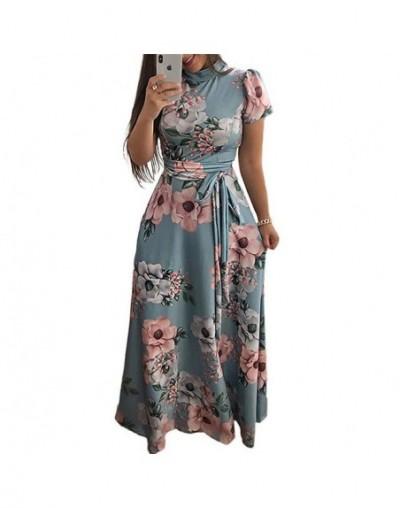 Women Summer Dress 2019 Casual Short Sleeve Long Dress Boho Floral Print Maxi Dress Turtleneck Bandage Elegant Dresses Vesti...