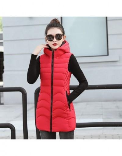 Winter vest women mid-long slim solid long zipper hooded waistcoat vest Autumn sleeveless cotton padded parka coat - Red - 4...