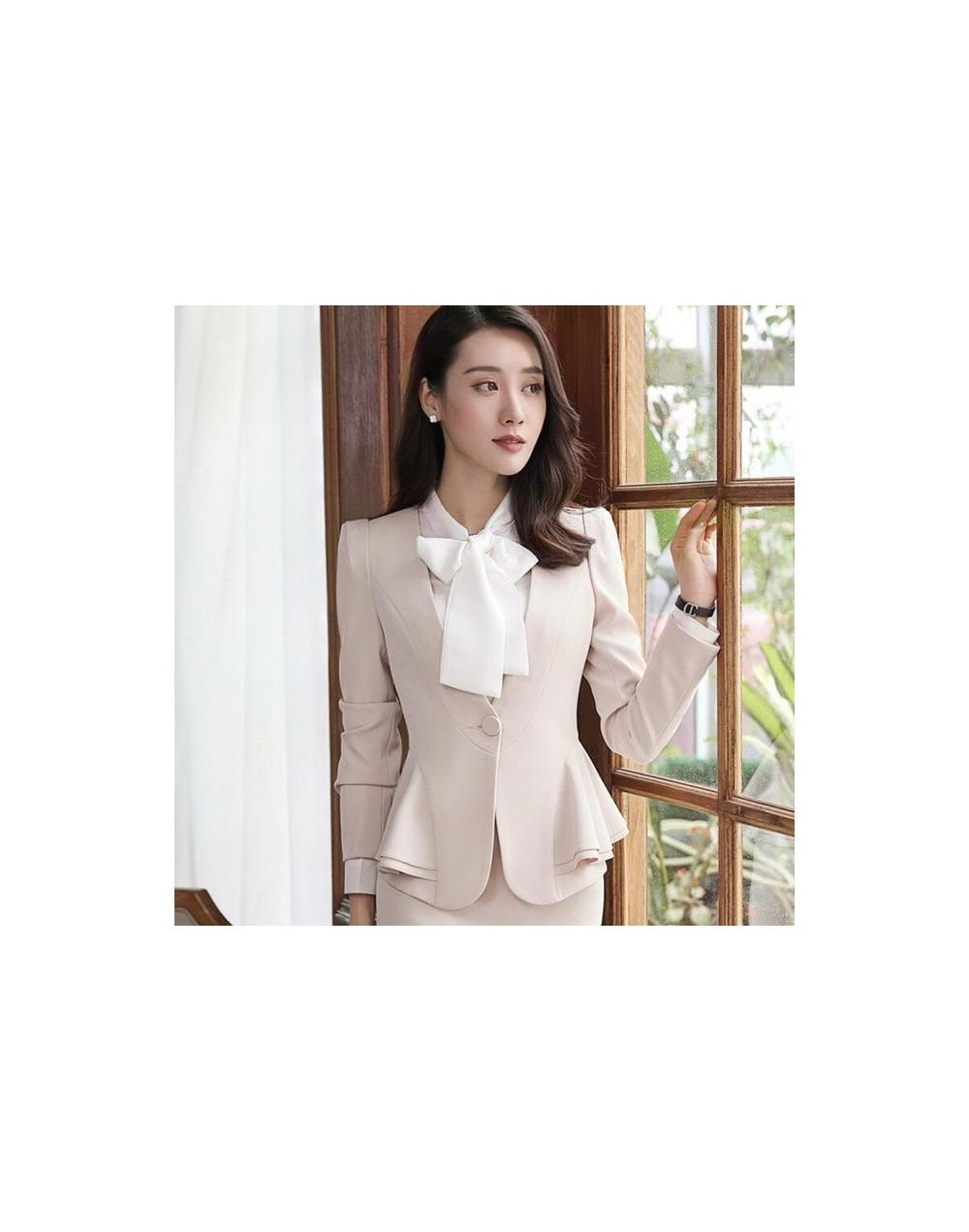 Fashion elegant red women blazer new winter formal Business ruffles slim V Neck jacket office ladies plus size work coat apr...